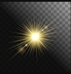 Gold glowing light burst explosion on transparent vector