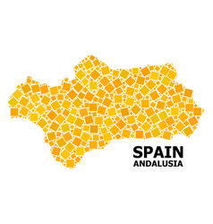 Gold rotated square mosaic map andalusia vector