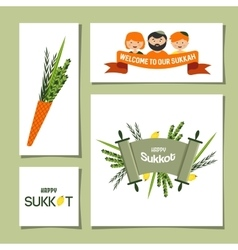 greeting cards for Jewish holiday Sukkot vector image