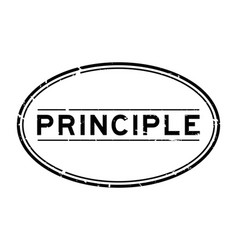 Grunge black principle word oval rubber seal vector