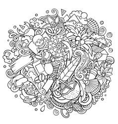haiti hand drawn cartoon doodles vector image