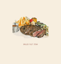 hand drawn of grilled filet steak vector image
