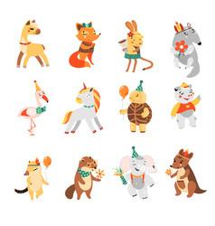 happy birthday nice animal collection vector image