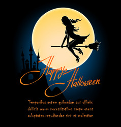 happy halloween poster with witch on a broom vector image
