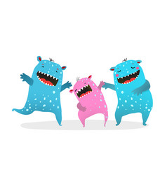 happy monster family laughing playing vector image