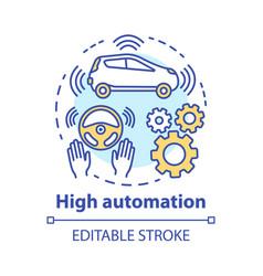 High automation concept icon car with autonomous vector