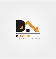 House icon template with d letter home creative vector
