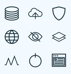 Interface icons line style set with conceal vector