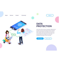 isometric data protection concept successful vector image
