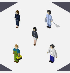 Isometric human set of girl plumber housemaid vector