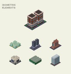 Isometric urban set of warehouse industry tower vector
