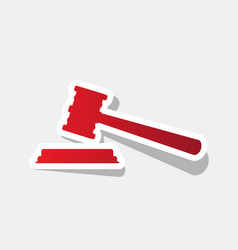 justice hammer sign new year reddish icon vector image