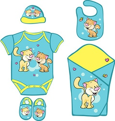 Layette for newborn baby with cute kitty vector