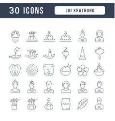 line icons loi krathong vector image