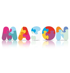 Mason written with alphabet puzzle vector