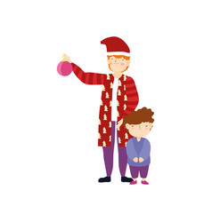 merry christmas father and son warm clothes with vector image