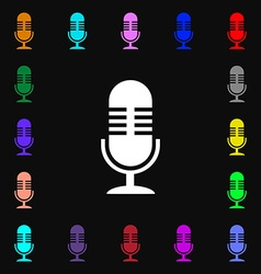 microphone icon sign Lots of colorful symbols for vector image
