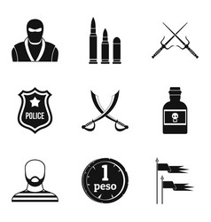 Military equipment icons set simple style vector