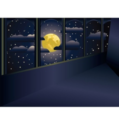 Moon and balcony vector