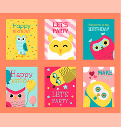owl set birthday cards vector image