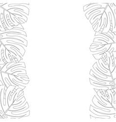 Philodendron monstera leaf border outline vector