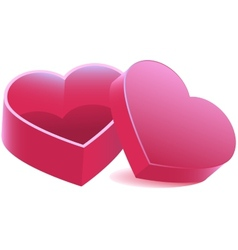 Pink heart shaped open box vector image vector image