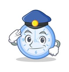 Police clock character cartoon style vector