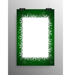 Poster Frame Falling Snow Green Background vector image