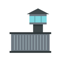 Prison tower icon flat style vector