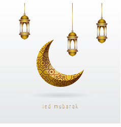 Ramadan kareem ied mubarak greeting with crescent vector