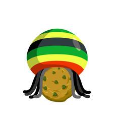 Rasta cookies rastafarian hat and dreadlocks and vector