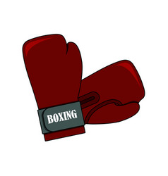 red boxing glove on the white background vector image