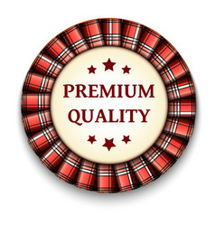 Red tartan best quality badge with ribbon on vector