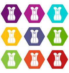 retro corset icons set 9 vector image
