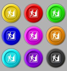 Rock climbing icon sign symbol on nine round vector