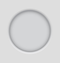 Round button pushed matted button on light gray vector