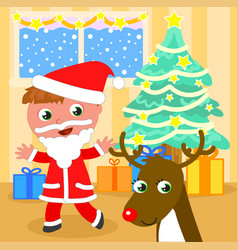 santa claus kid with reindeer vector image vector image