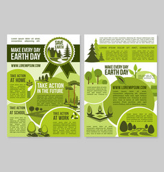 save planet nature announcement earth day posters vector image
