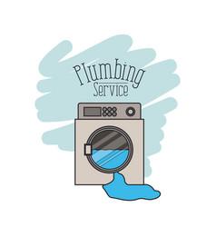 Scene of washing machine dripping plumbing service vector