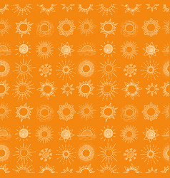Seamless background with doodle sun on orange vector