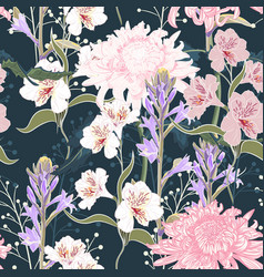 seamless pattern beautiful pink violet blooming vector image