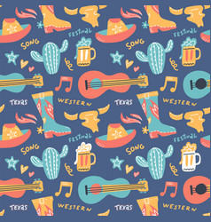 Seamless pattern with country music elements vector