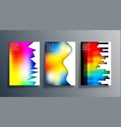 Set abstract poster design with colorful vector