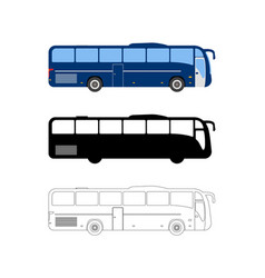 set of flat bus icon cartoon outline vector image