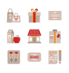 set of shopping icons and concepts in flat style vector image