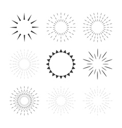 Set of sparkles and starbursts with rays Design vector image