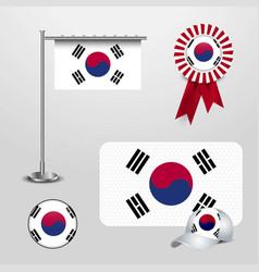 South korea country flag haning on pole ribbon vector