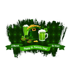 st patrick day cartoon celtic poster vector image