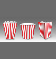 Striped bucket for popcorn hen wings or legs pack vector