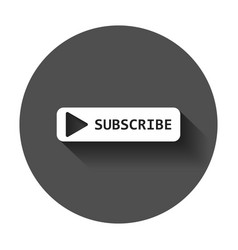 Subscribe button icon with long shadow business vector